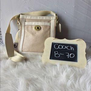 Coach Cricket Beige and White Crossbody bag